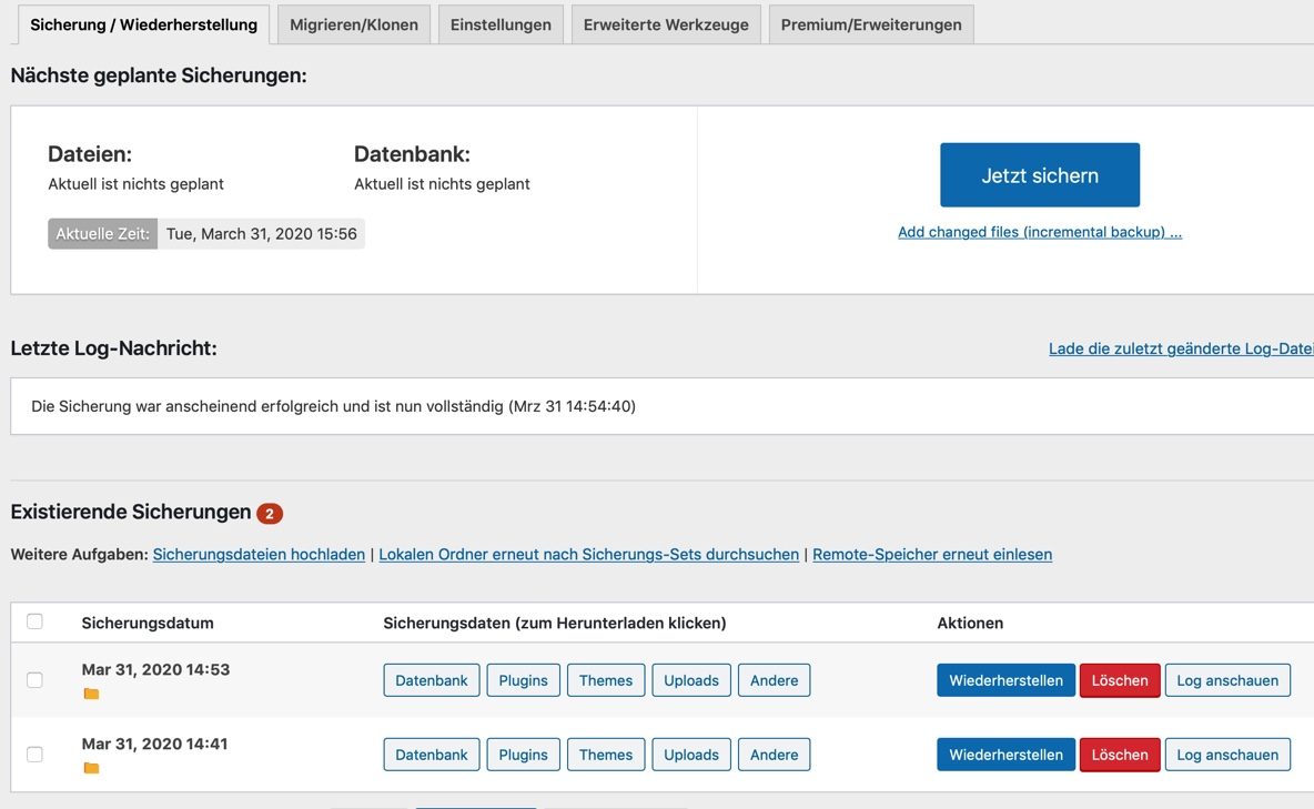 Wie mache ich mein WordPress Backup? • PAVIDOS BLOG